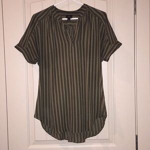 Green and Black Striped Top